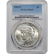 1926-S Pcgs MS65 Peace Dollar