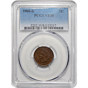 1908-S Pcgs VF35BN Indian Head Cent