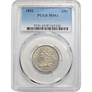 1832 Pcgs MS63 Capped Bust Quarter