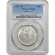 1937-D Pcgs MS66 Arkansas Half Dollar
