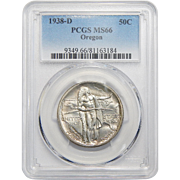 1938-D Pcgs MS66 Oregon Half Dollar