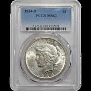 1934-D Pcgs MS63 Peace Dollar