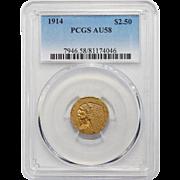 1914 Pcgs AU58 $2.50 Indian Gold