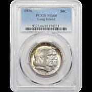 1936 Pcgs MS66 Long Island Half Dollar