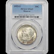 1923-S Pcgs MS65 Monroe Half Dollar