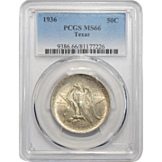 1936 Pcgs MS66 Texas Half Dollar