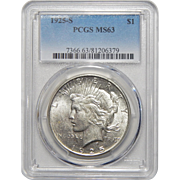 1925-S Pcgs MS63 Peace Dollar