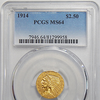 1914 Pcgs MS64 $2.50 Indian Gold
