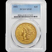 1852 Pcgs XF45 $20 Liberty Head Gold
