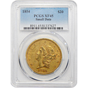 1854 Pcgs XF45 $20 Small Date Liberty Head Gold
