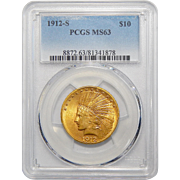 1912-S Pcgs MS63 $10 Indian Gold