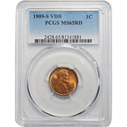 1909-S VDB Pcgs MS65RD Lincoln Wheat Cent