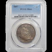 1857 Pcgs PR63 Liberty Seated Half Dollar