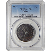1814 Pcgs AU58BN Plain 4 Large Cent