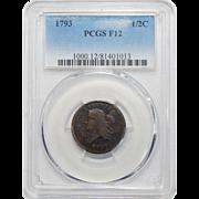 1793 Pcgs F12BN Liberty Cap Half Cent