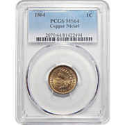 1864 Pcgs MS64 Copper Nickel Indian Cent