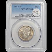 1916-D Pcgs MS64 PQ! Barber Quarter