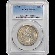 1865 Pcgs MS64 Liberty Seated Half Dollar