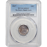 1837 Pcgs MS64 No Stars, Small Date Liberty Seated Dime