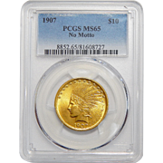 1907 Pcgs MS65 $10 No Motto Indian Gold