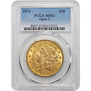 1873 Pcgs MS62 $20 Open 3 Liberty Head Gold