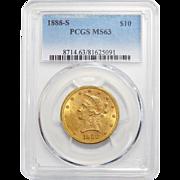 1888-S Pcgs MS63 $10 Liberty Head Gold