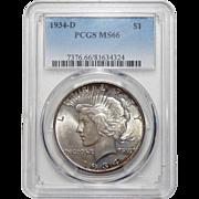1934-D Pcgs MS66 Peace Dollar