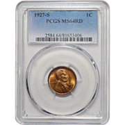 1927-S Pcgs MS64RD Lincoln Wheat Cent