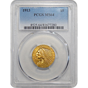 1913 Pcgs MS64 $5 Indian Gold