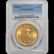 1924-D Pcgs MS64 $20 St. Gaudens Gold