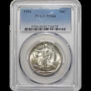 1916 Pcgs MS66 Walking Liberty Half Dollar