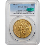 1870-S Pcgs/Cac AU58+ Granite Lady Hoard $20 Liberty Head Gold