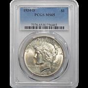 1934-D Pcgs MS65 Peace Dollar