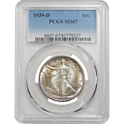 1939-D Pcgs MS67 Walking Liberty Half Dollar