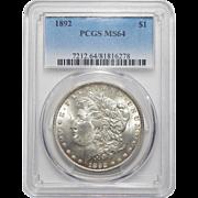 1892 Pcgs MS64 Morgan Dollar