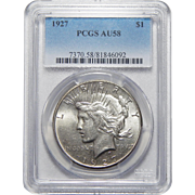 1927 Pcgs AU58 Peace Dollar
