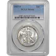 1927-S Pcgs MS66 Walking Liberty Half Dollar