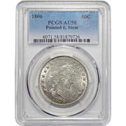 1806 Pcgs AU58 Pointed 6, Stem Flowing Hair Half Dollar
