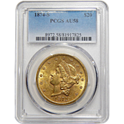 1874-S Pcgs AU58 $20 Liberty Head Gold