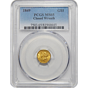 1849 Pcgs MS65 Closed Wreath Gold Dollar