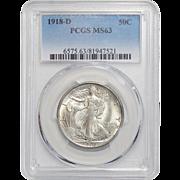 1918-D Pcgs MS63 Walking Liberty Half Dollar