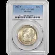 1923-S Pcgs MS66 Monroe Half Dollar