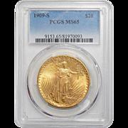 1909-S Pcgs MS65 $20 St. Gaudens Gold
