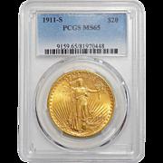 1911-S Pcgs MS65 $20 St. Gaudens Gold
