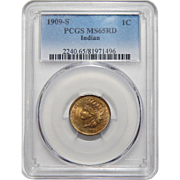 1909-S Pcgs MS65RD Indian Cent