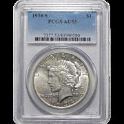 1934-S Pcgs AU53 Peace Dollar