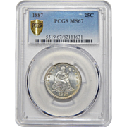 1887 Pcgs MS67 Liberty Seated Quarter