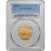 1909-S Pcgs MS63 $5 Indian Gold