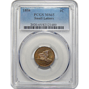1858 Pcgs MS65 Small Letters Flying Eagle Cent