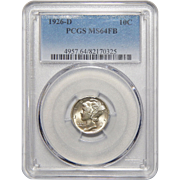 1926-D Pcgs MS64FB Mercury Dime